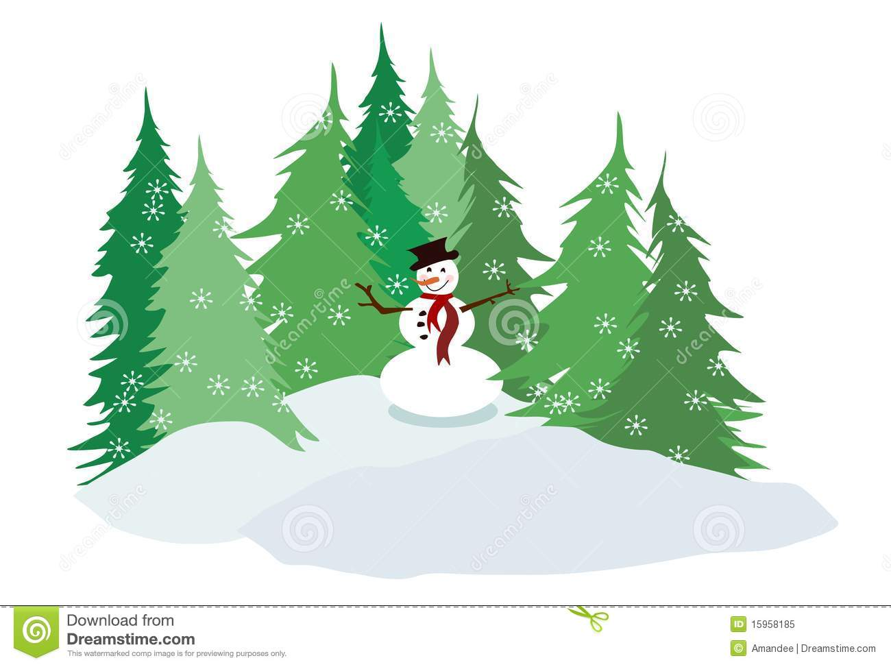 Snowman And Pine Trees Stock Illustration Illustration Of