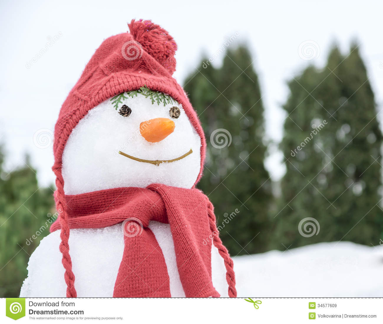 Snowman With A Pink Hat Stock Image. Image Of Seasonal