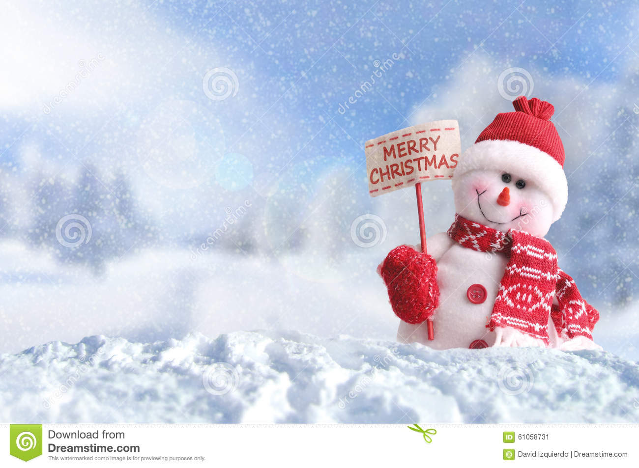 Snowman With A Placard Merry Christmas On The Snow Stock