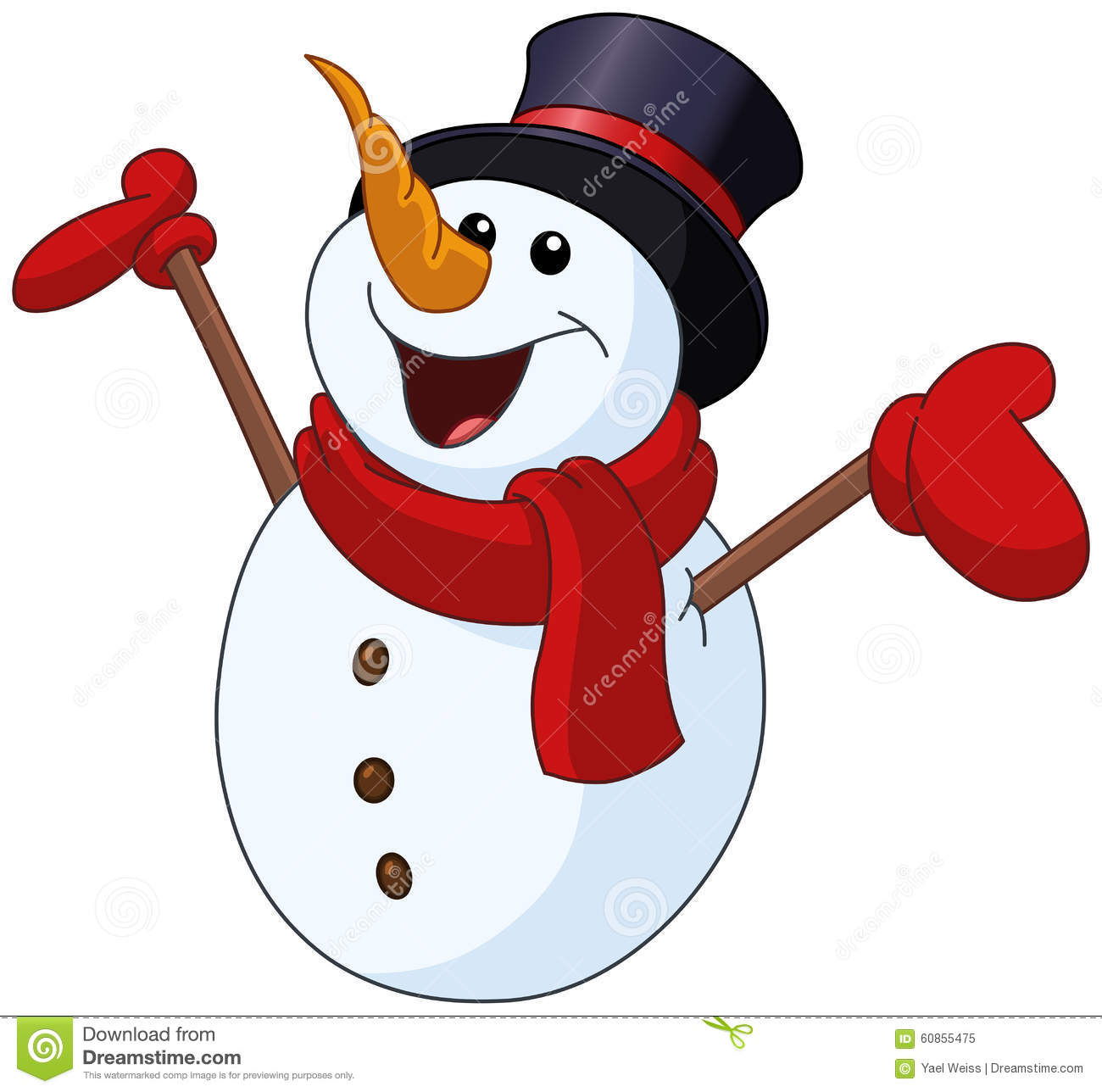 Snowman Raising Arms Stock Vector - Image: 60855475