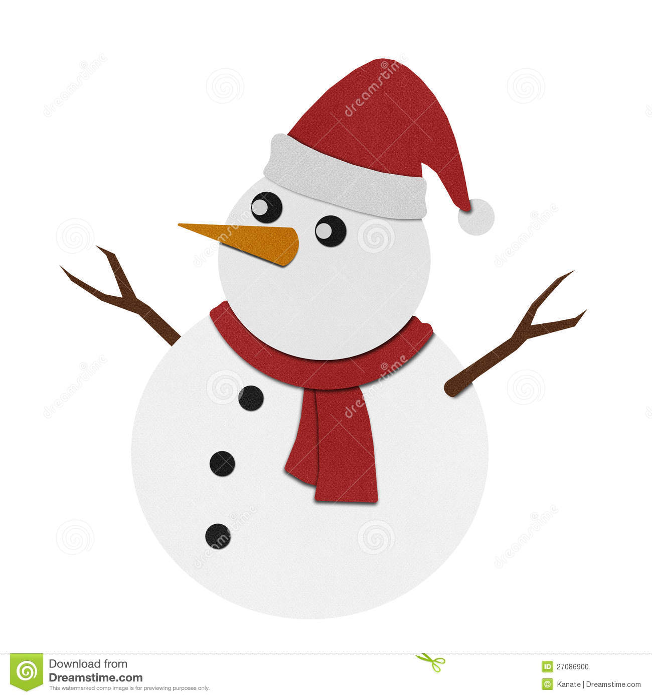 Snowman Recycled Paper Craft On Paper Background. Stock Photo - Image ...