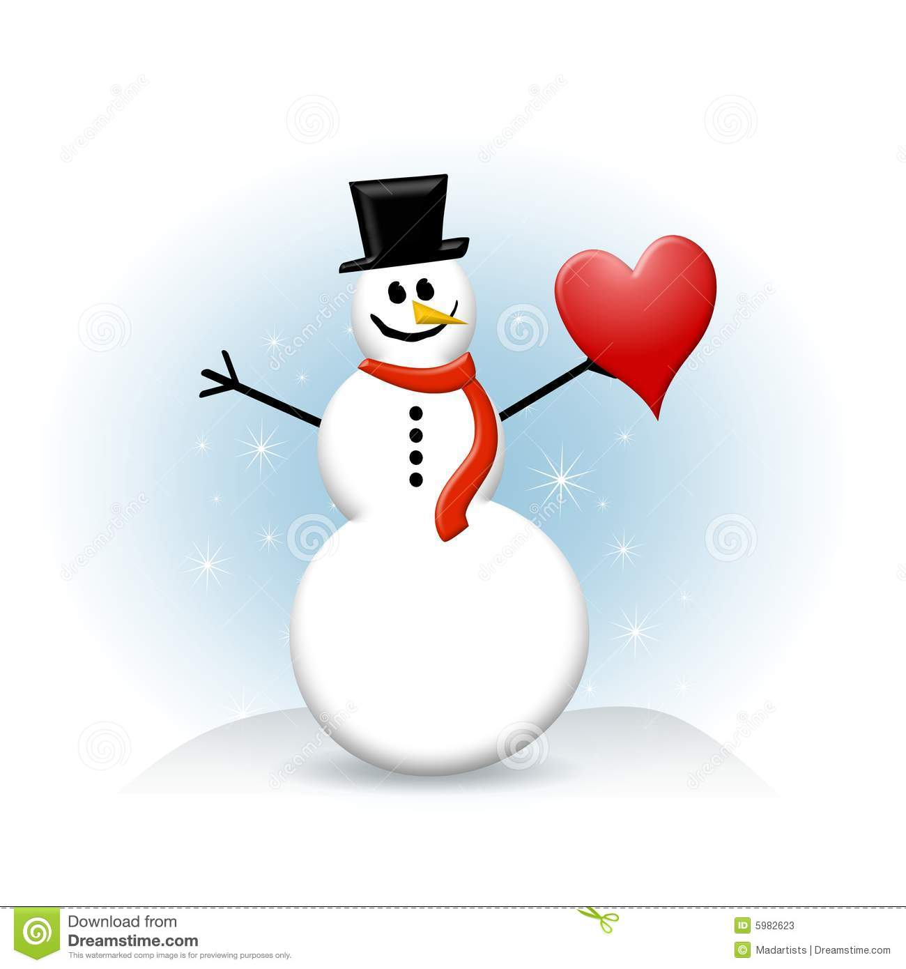 snowman with red heart stock photos image 5982623