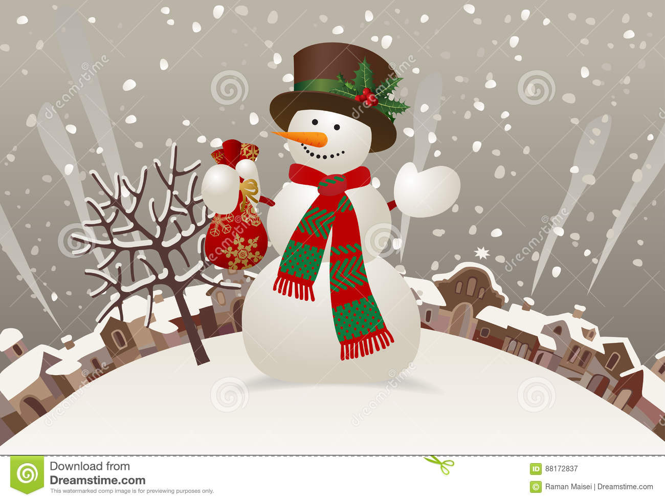 4643faa1f5be7 Snowman with a red scarf and hat against the winter landscape. Christmas    New-Year`s greeting card in vintage style. There is in addition a vector  format ...