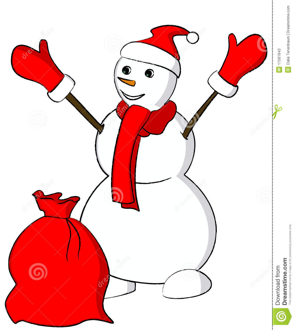 Snowman Scarf Outline Snowman with red scarf and a sack
