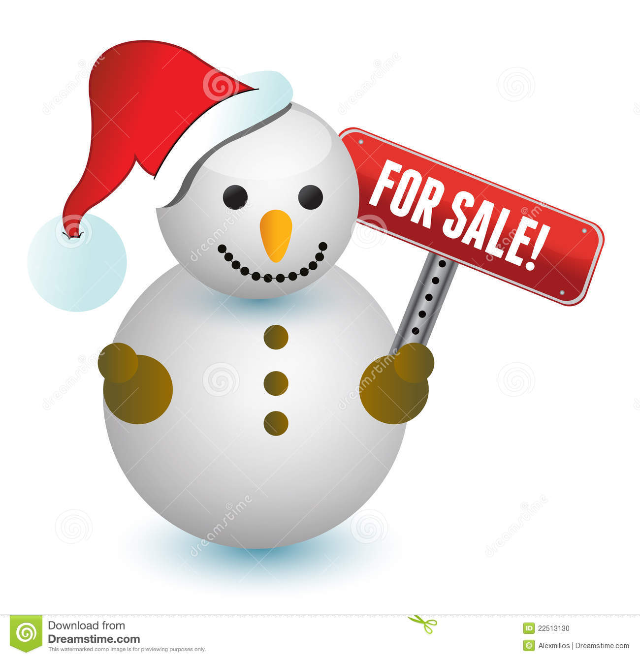 Snowman with a for sale sign illustration stock photo image