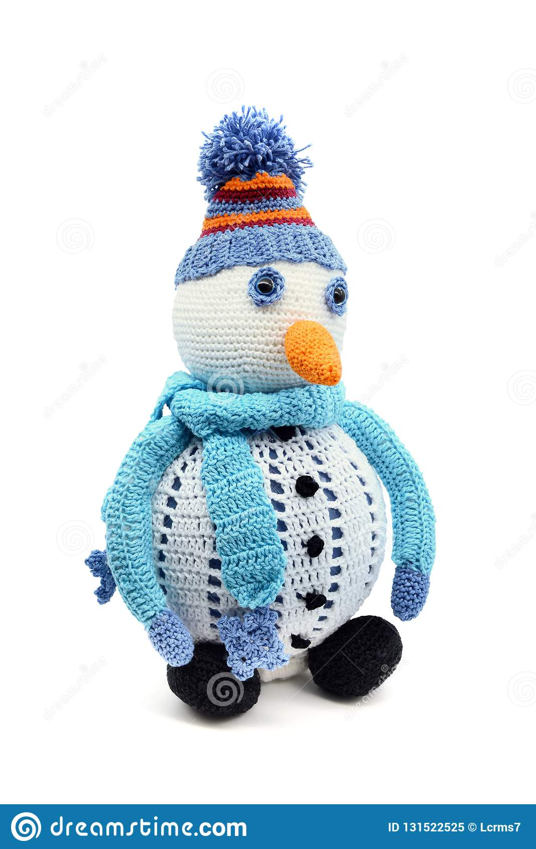 Snowman With Scarf And Carrot Crochet Of Wool On White Isolated