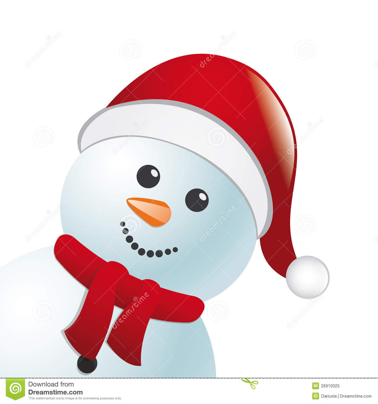 Snowman With Scarf And Hat Royalty Free Stock Photo ...