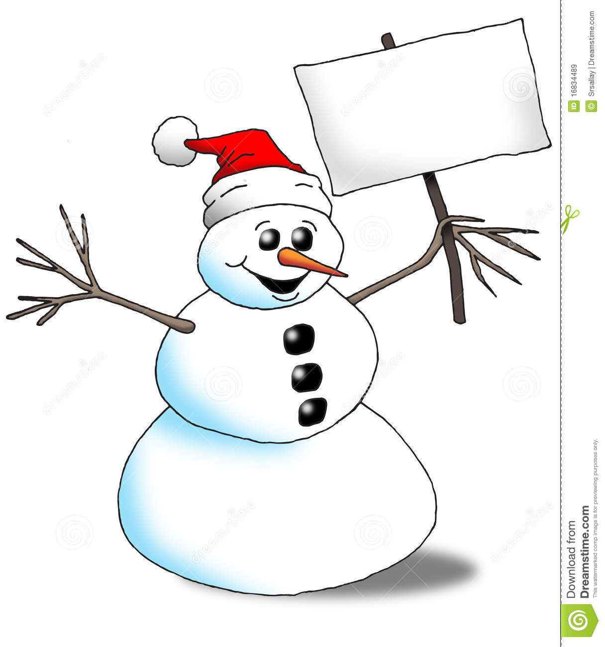 SnowMan With Sign Royalty Free Stock Images - Image: 16834489