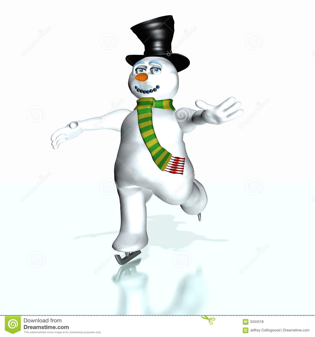 Snowman with a carrot nose and a moutn made of coal skating on ice.