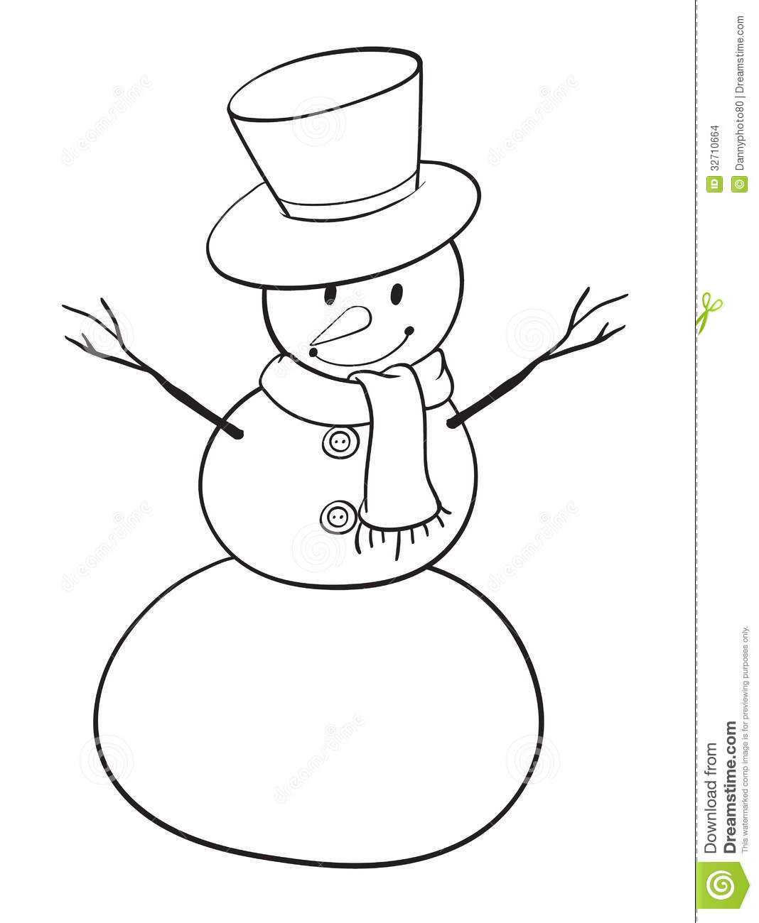 Mr Snowman On Christmas Touching A Snowflake Coloring Page: Snowman Sketch Stock Images