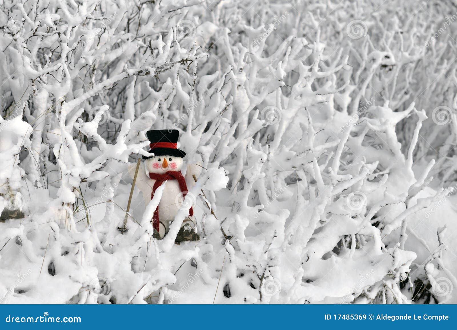 Snowman skiing in winter landscape
