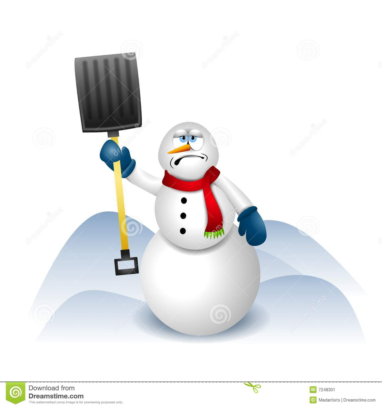 clip art illustration featuring a snowman holding a snow shovel ...