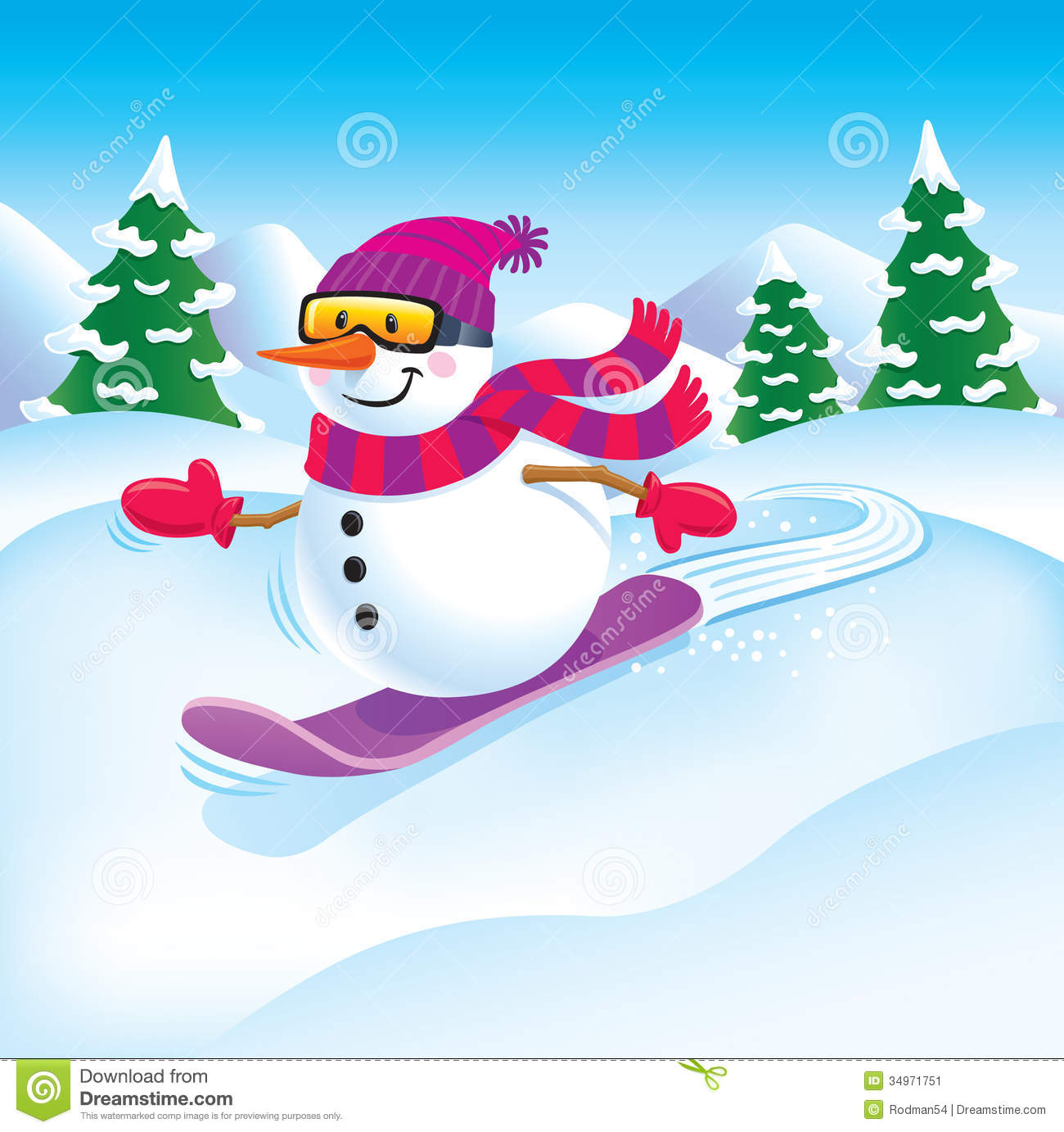 snowman snowboarder stock image image 34971751