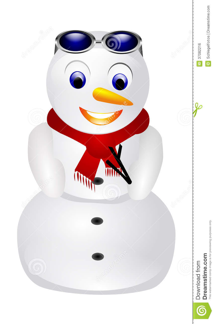 Snowman with sunglasses isolated royalty free stock image - Bonhomme de neige decoration exterieure ...