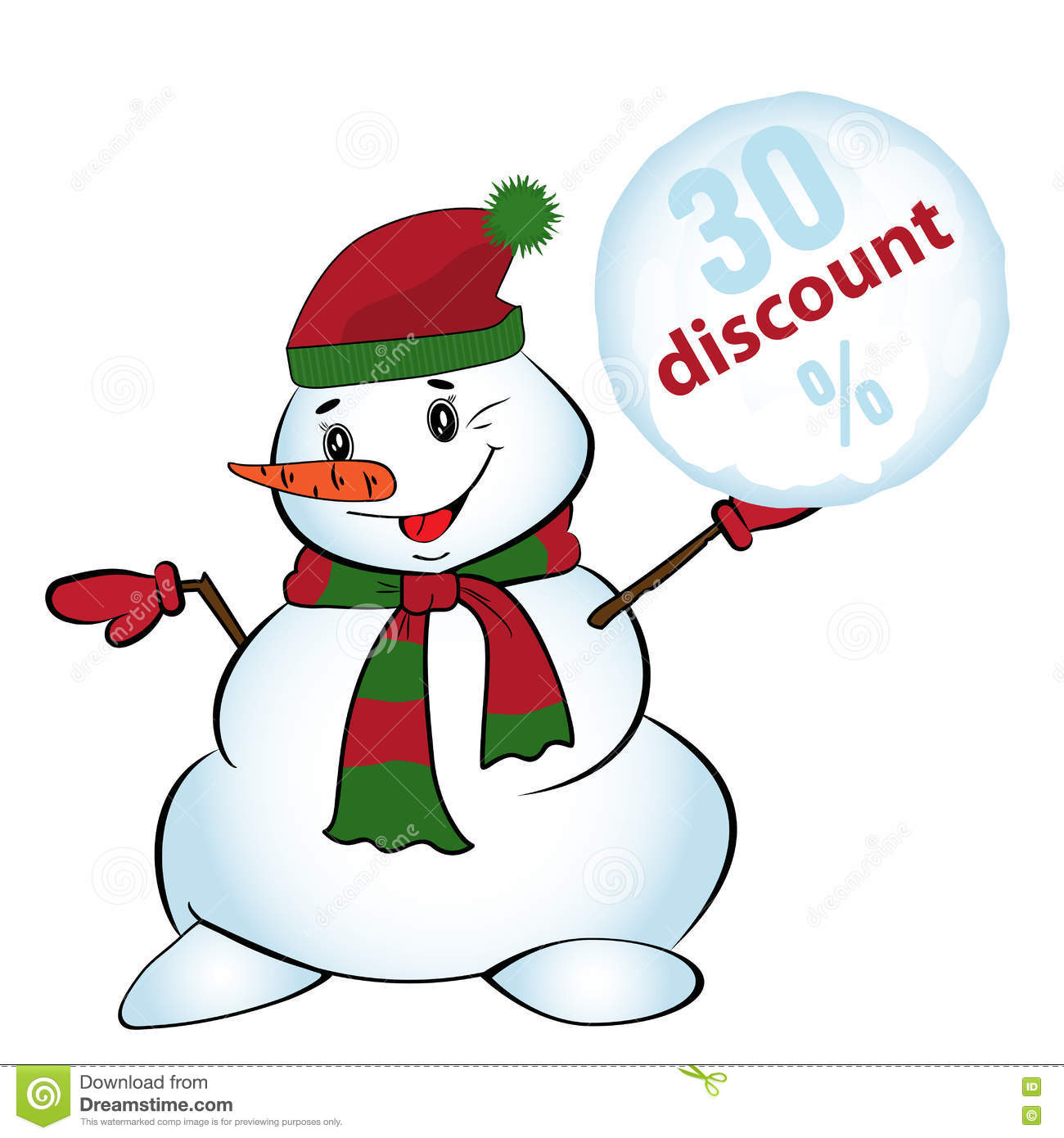 snowman throw a snowball with sale sign  discount  for