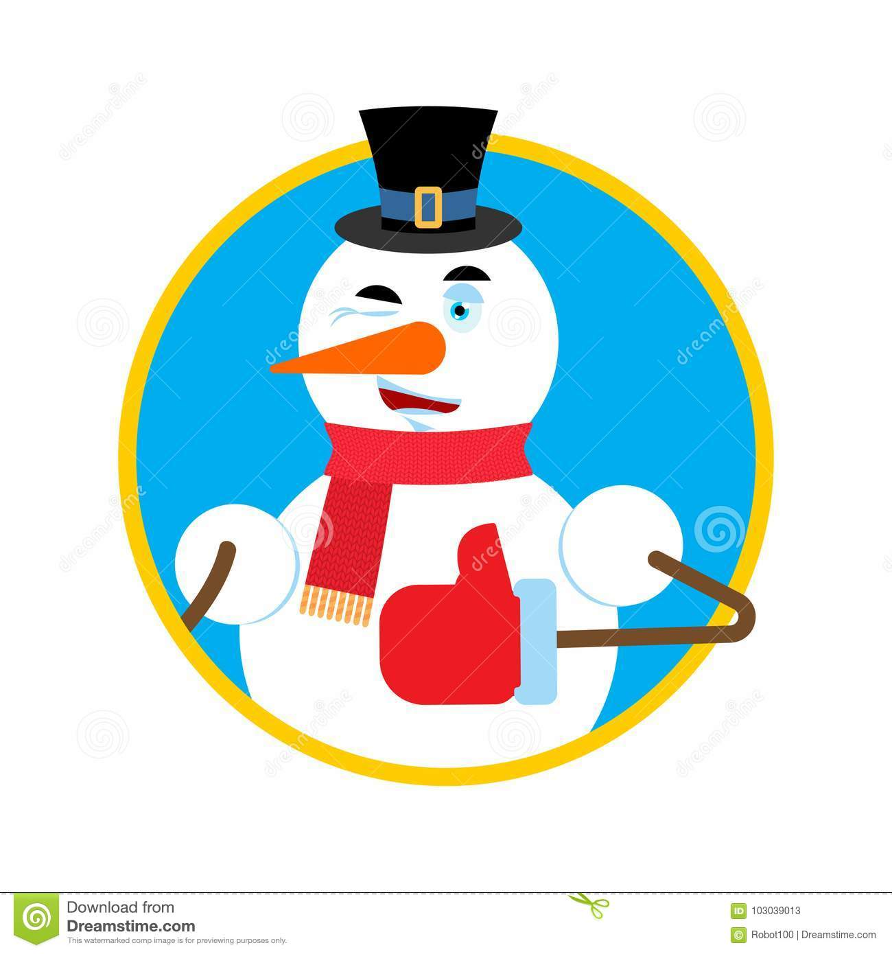 snowman thumbs up winks emoji new year and christmas vector ill