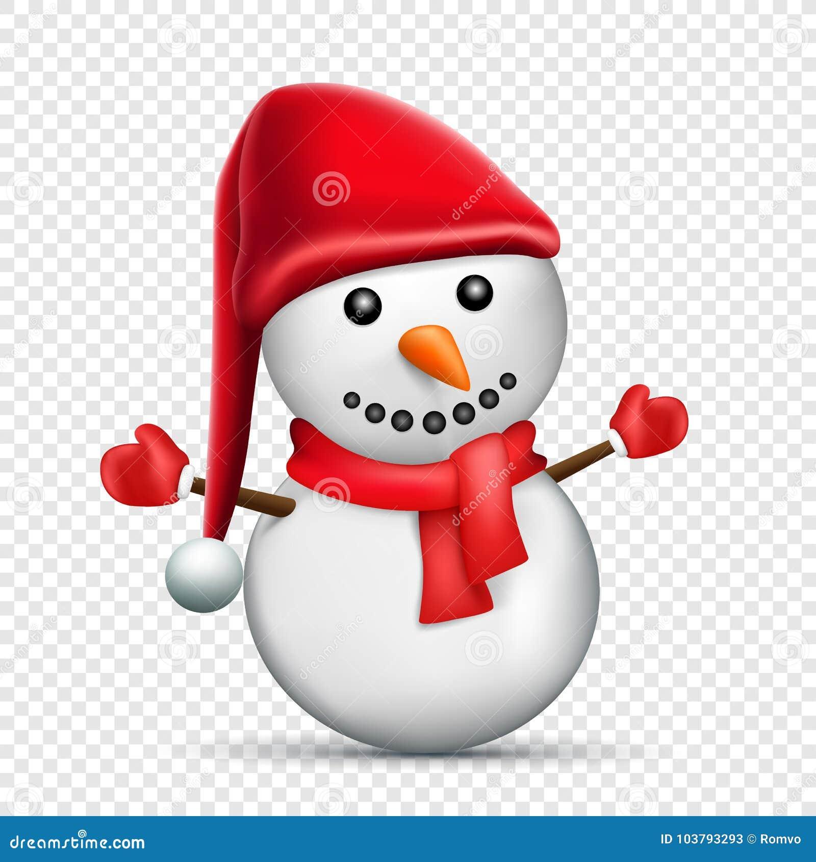 Christmas Hat Cartoon Transparent.Snowman Transparent Background Stock Vector Illustration