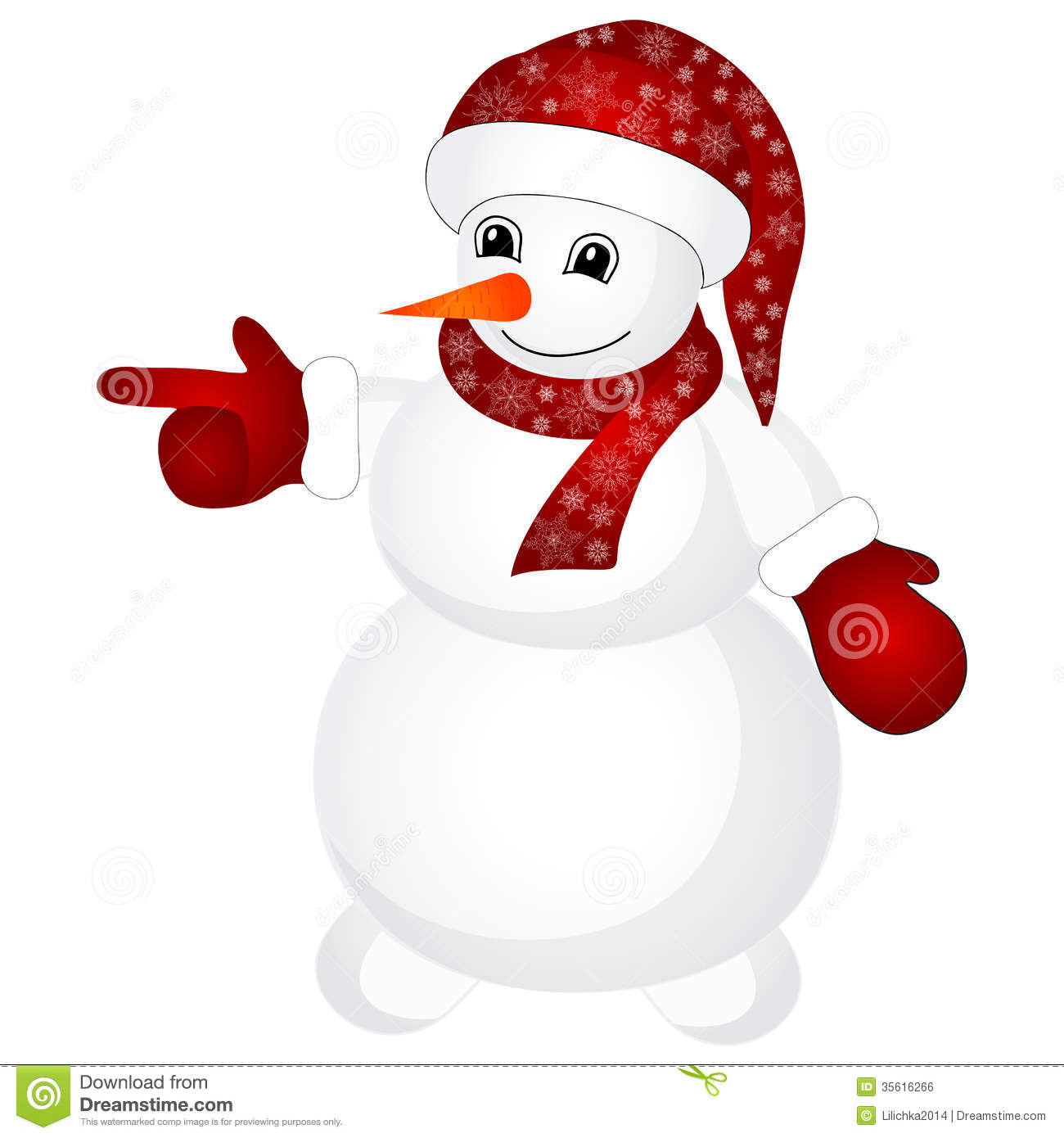 Snowman wearing santa hat isolated on the white background.