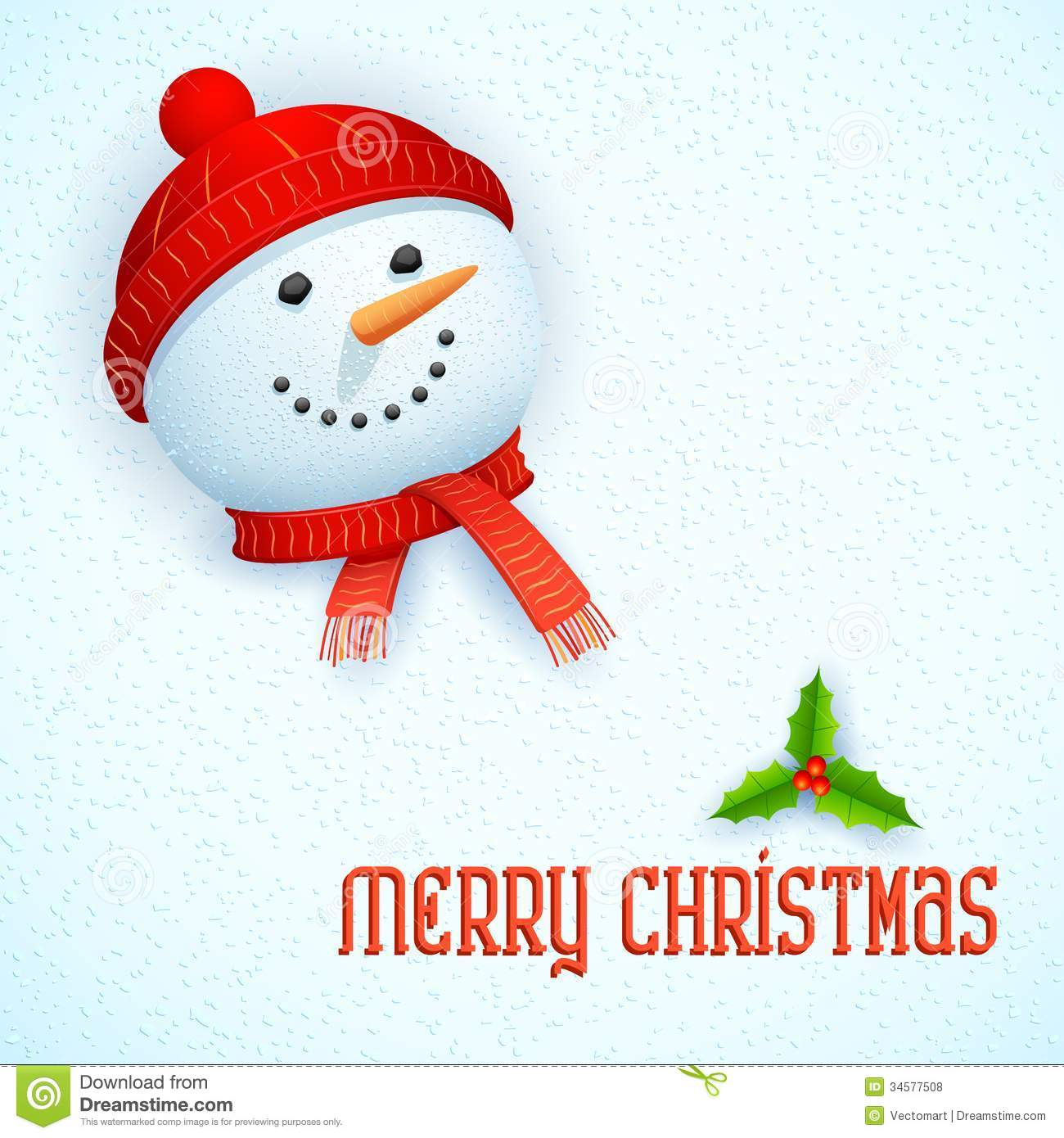 snowman wearing scarf in christmas card - Snowman Christmas Cards