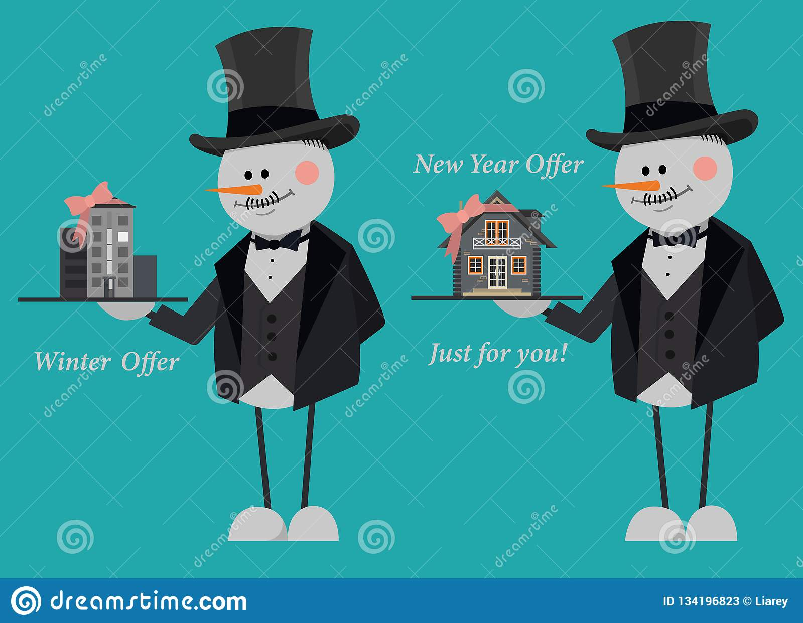 Snowmen in suits and top hats offering a new flat and country house just for you. New Year Offer.