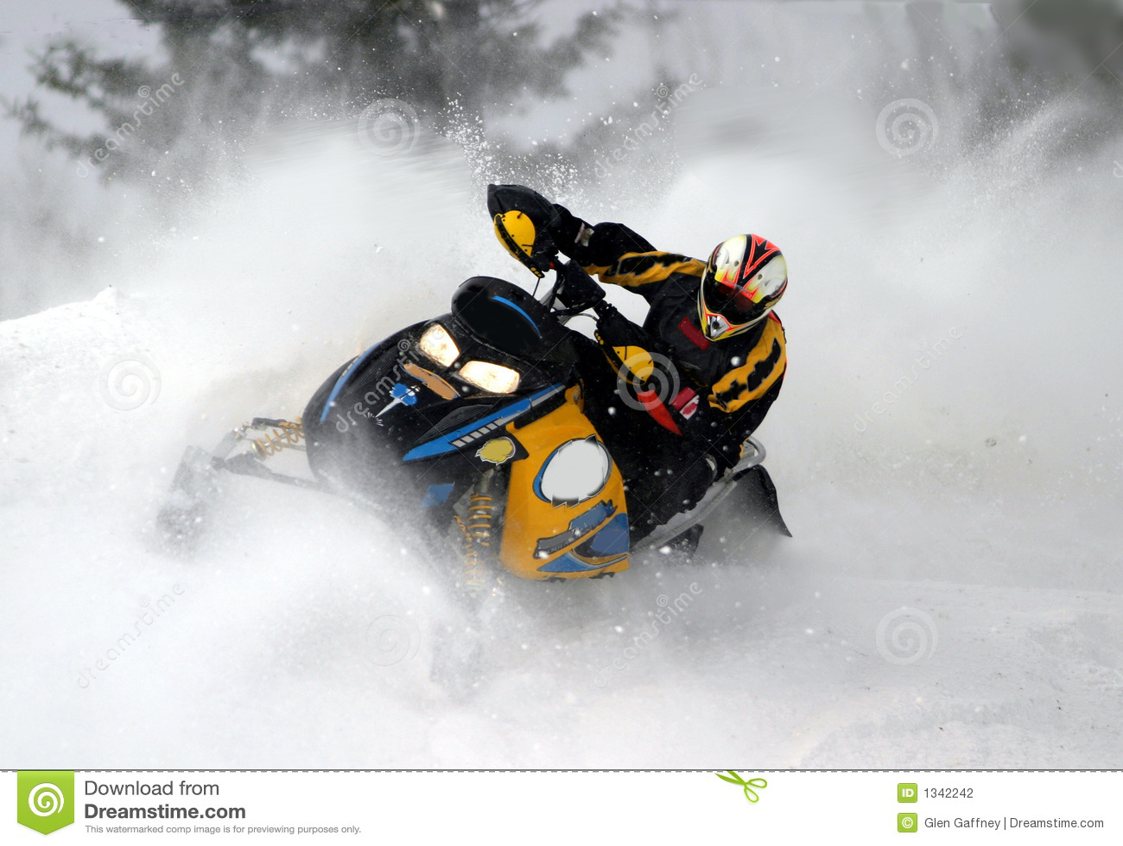 Snowmobile action shot