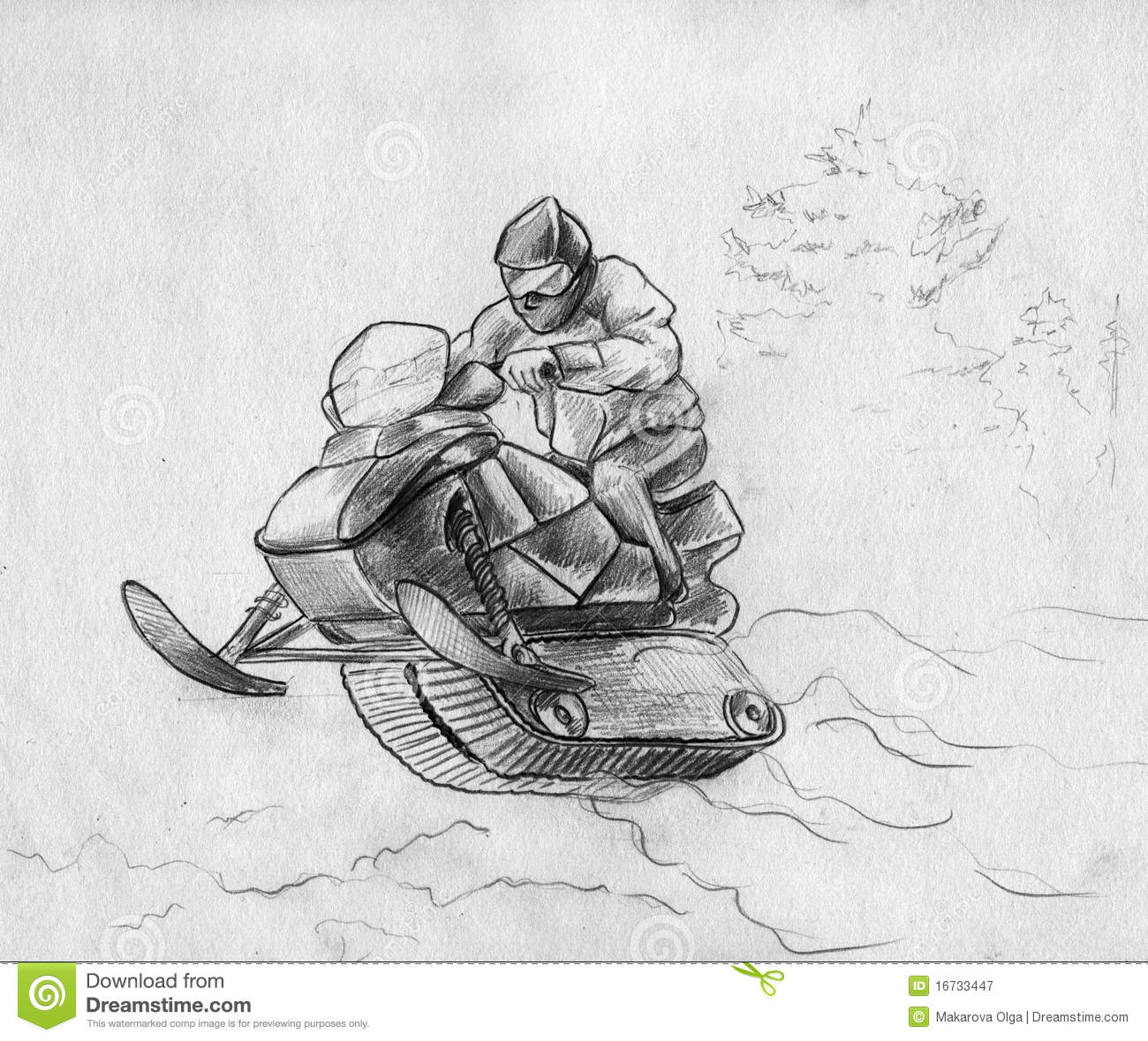 Snowmobile Rider In A Jump Stock Illustration Image Of