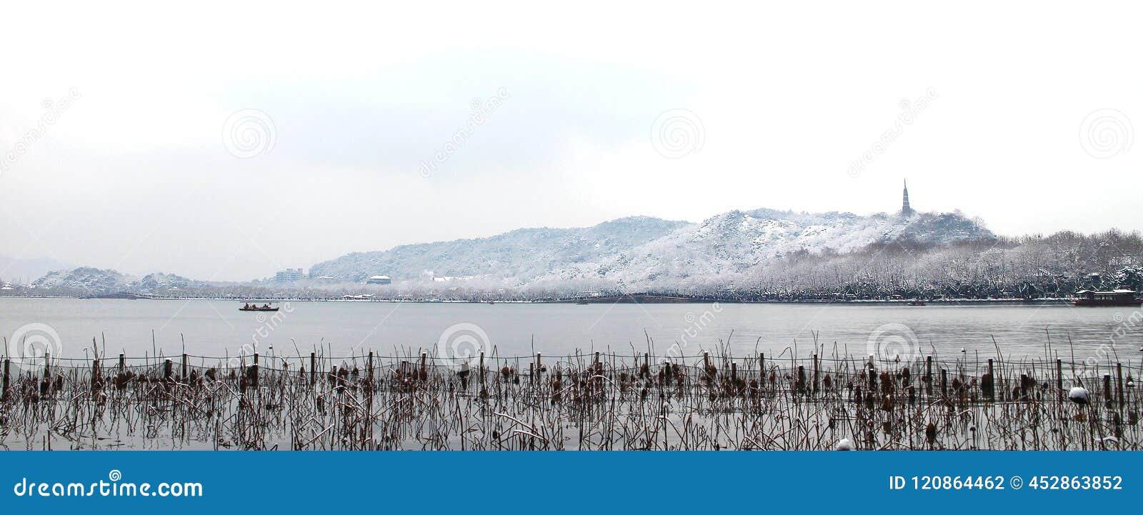 Snowscape της δυτικής λίμνης στο hangzhou, Κίνα