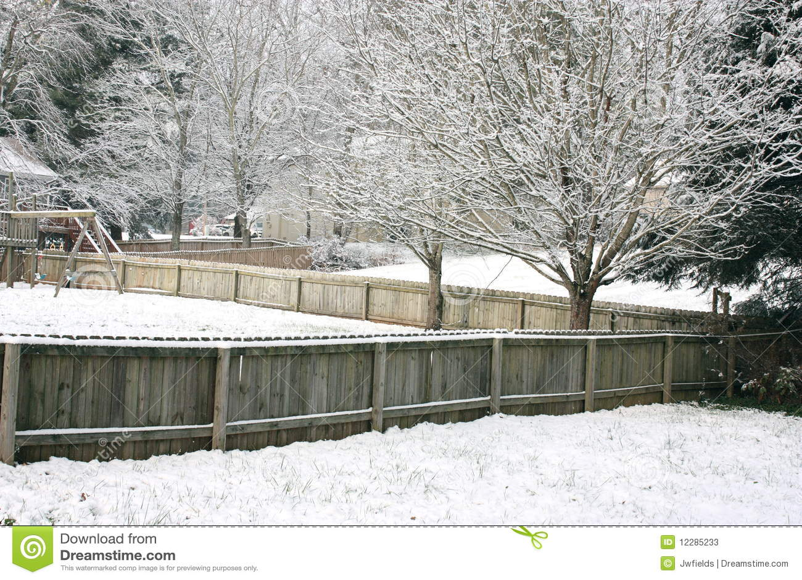 snowy backyard stock photos image 12285233