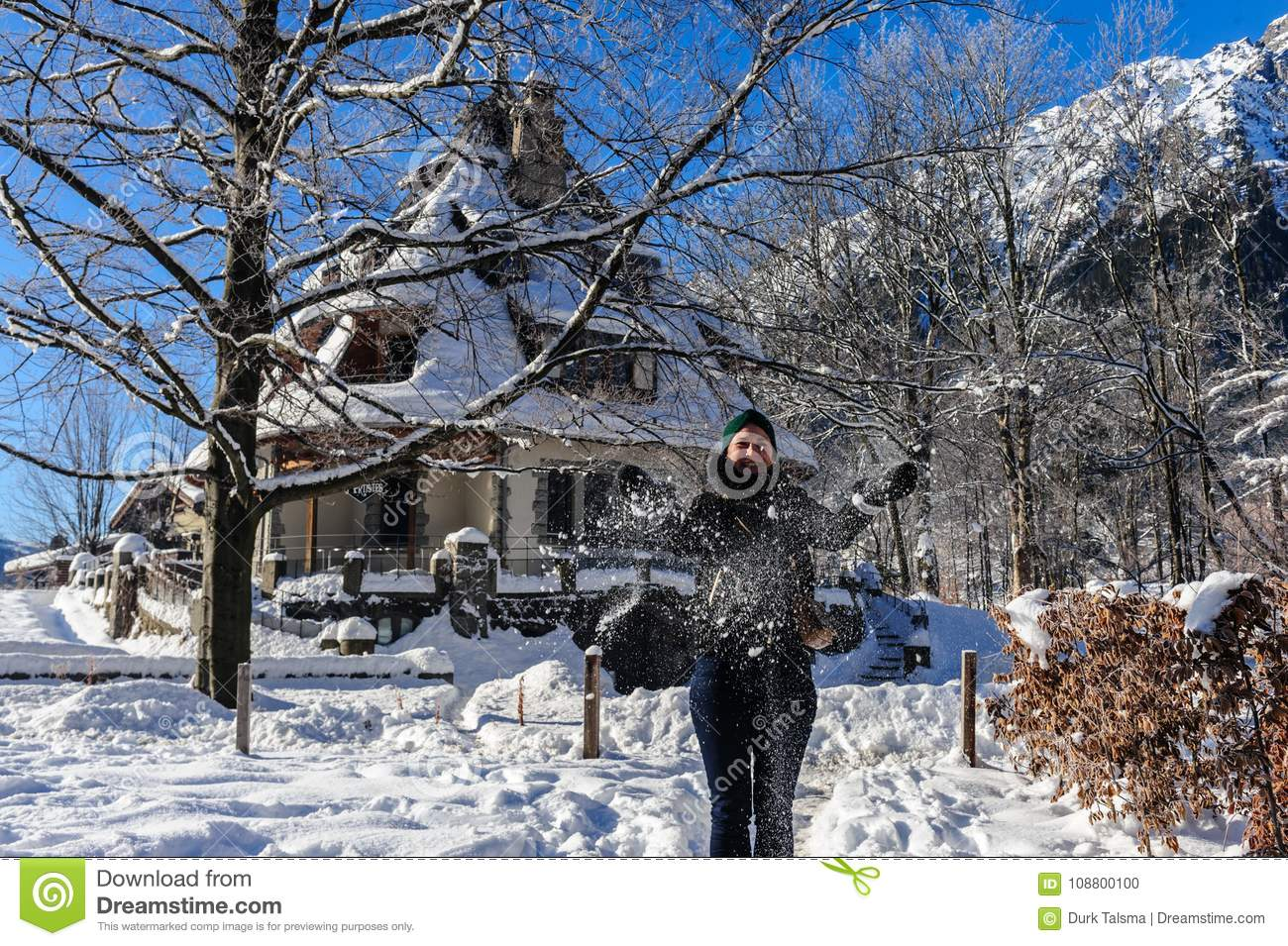 Christmas Day In France.Snowy Chamonix De Mont Blanc On A Christmas Day Editorial
