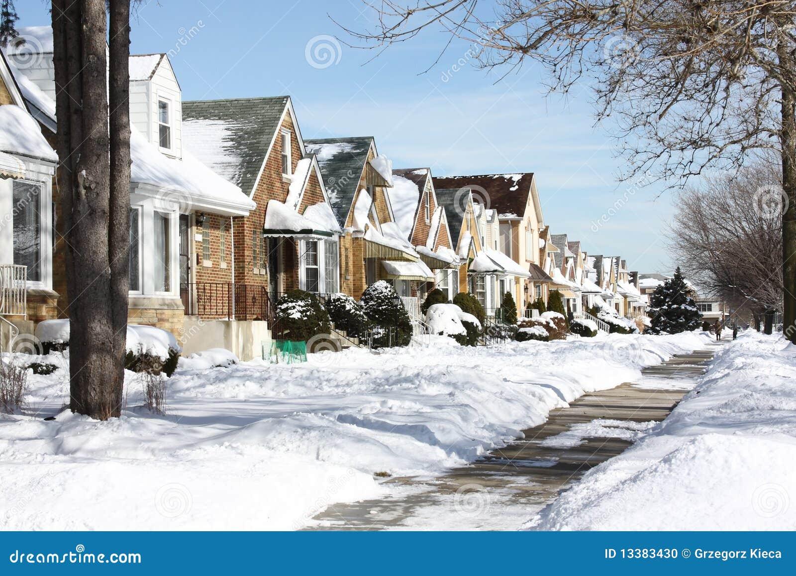 Snowy Chicago Neighborhood Stock Photo Image 13383430