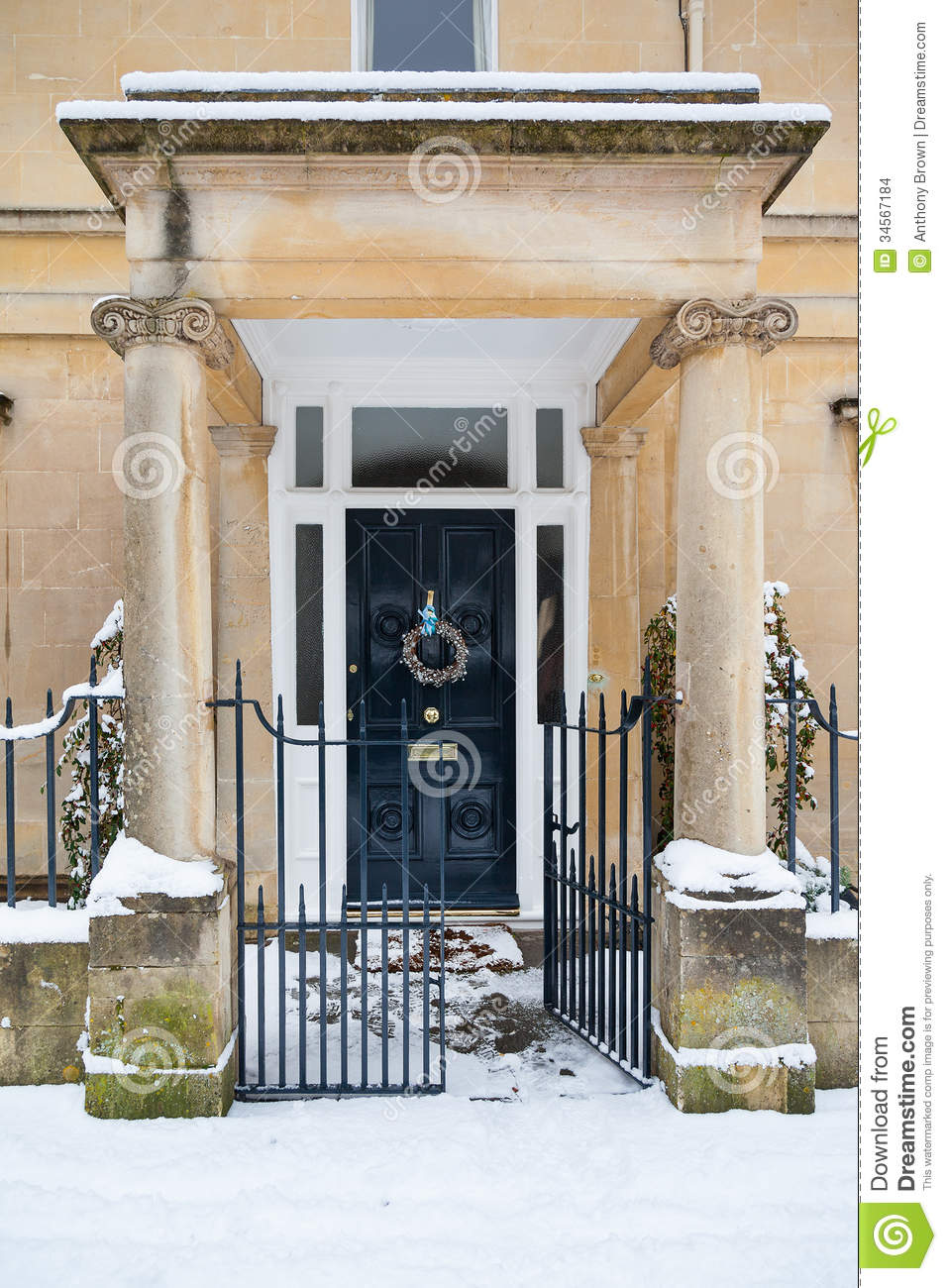 Snowy Christmas Entrance Stock Photo Image Of Vertical