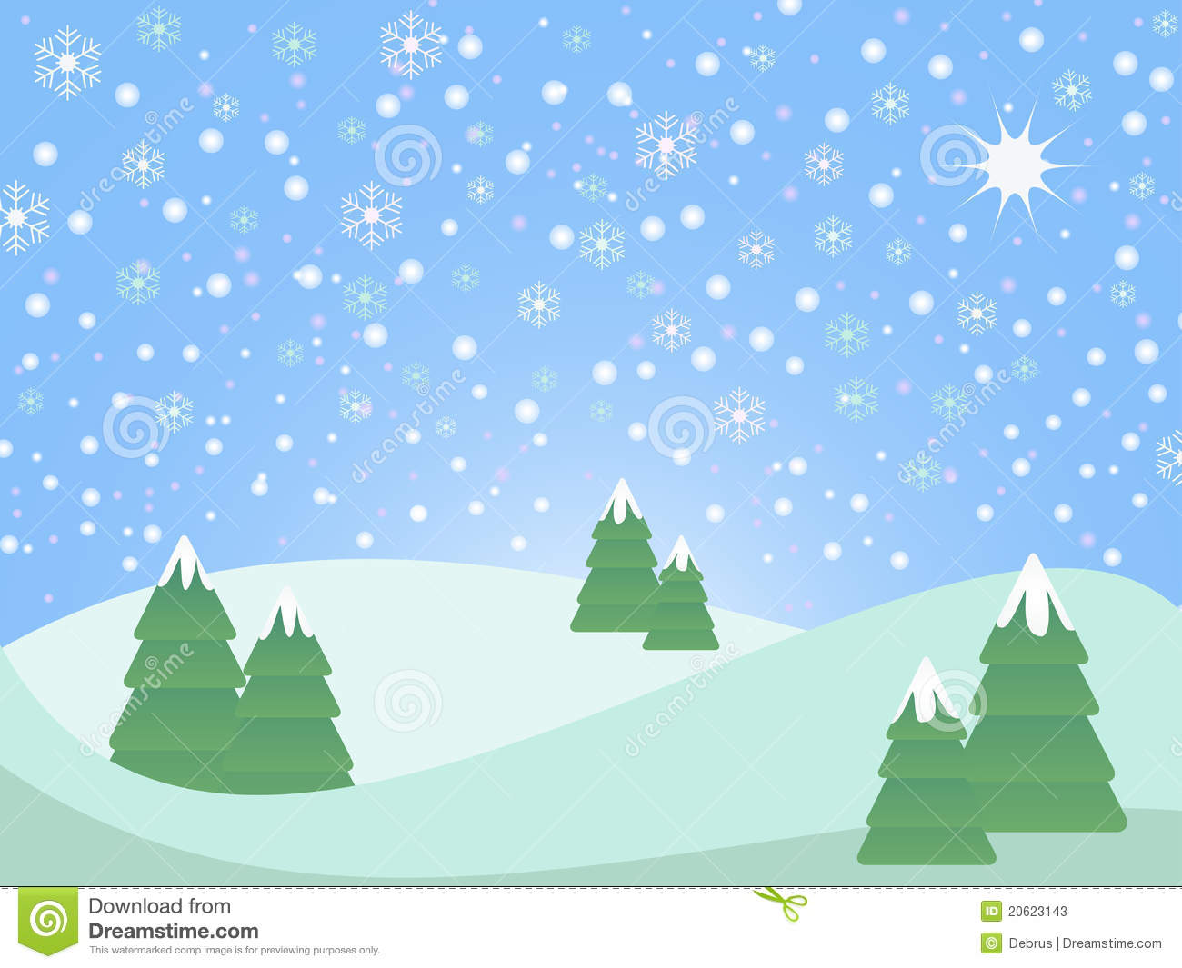 Christmas winter scene landscape with fir trees and snowflake ...