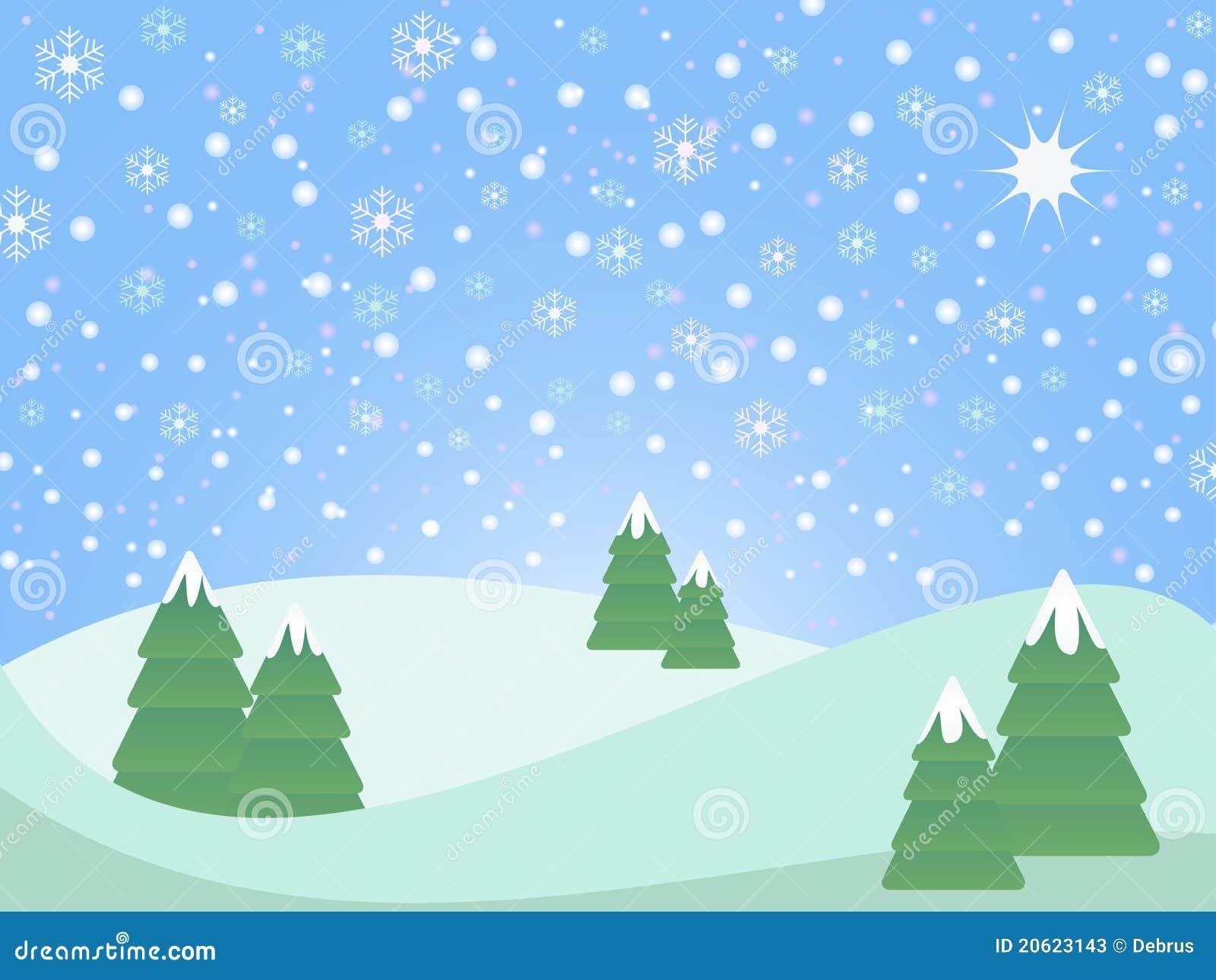 Snowy Christmas Landscape Stock Illustration Illustration Of White