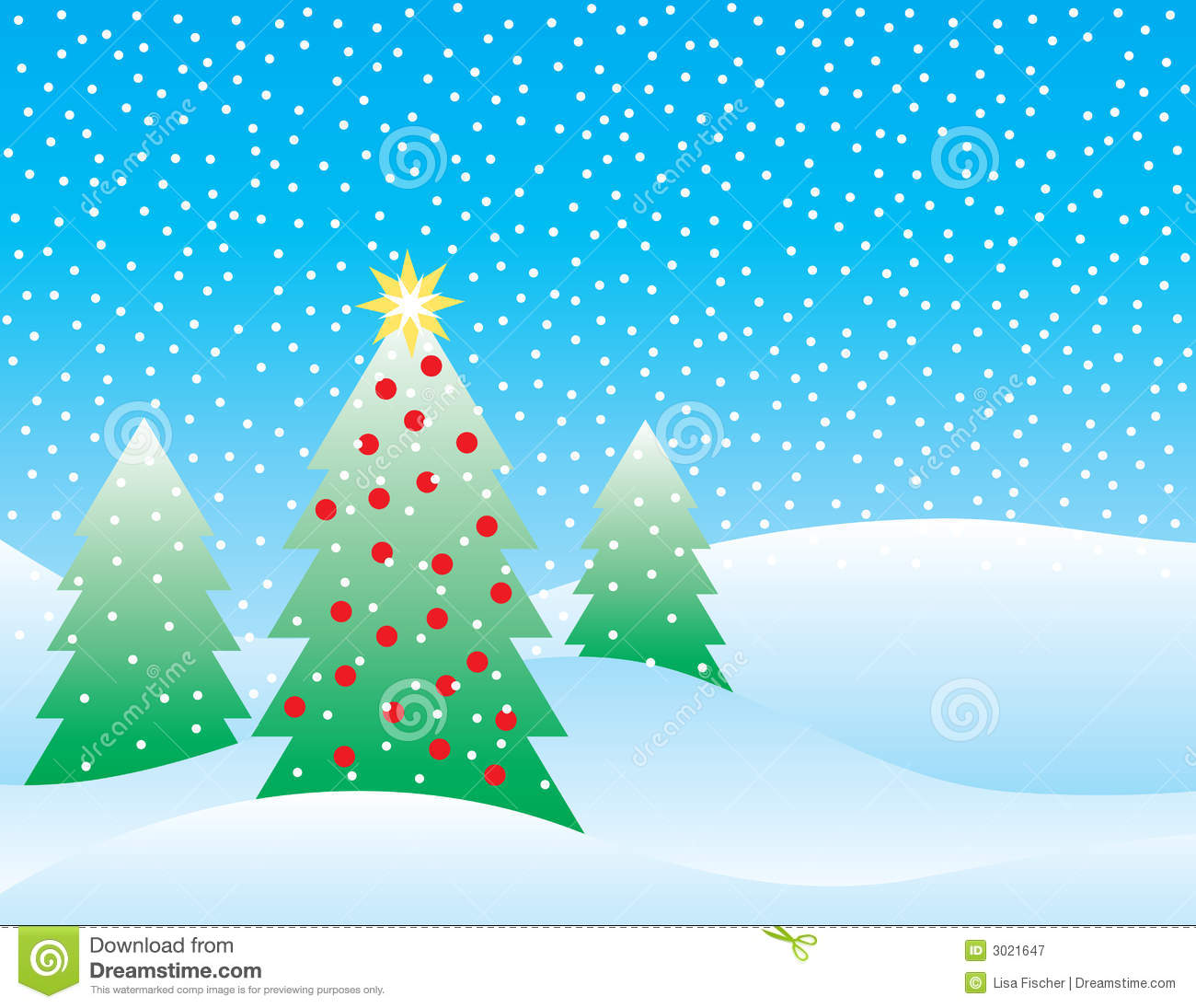 Snowy Christmas Scene Royalty Free Stock Photography - Image: 3021647