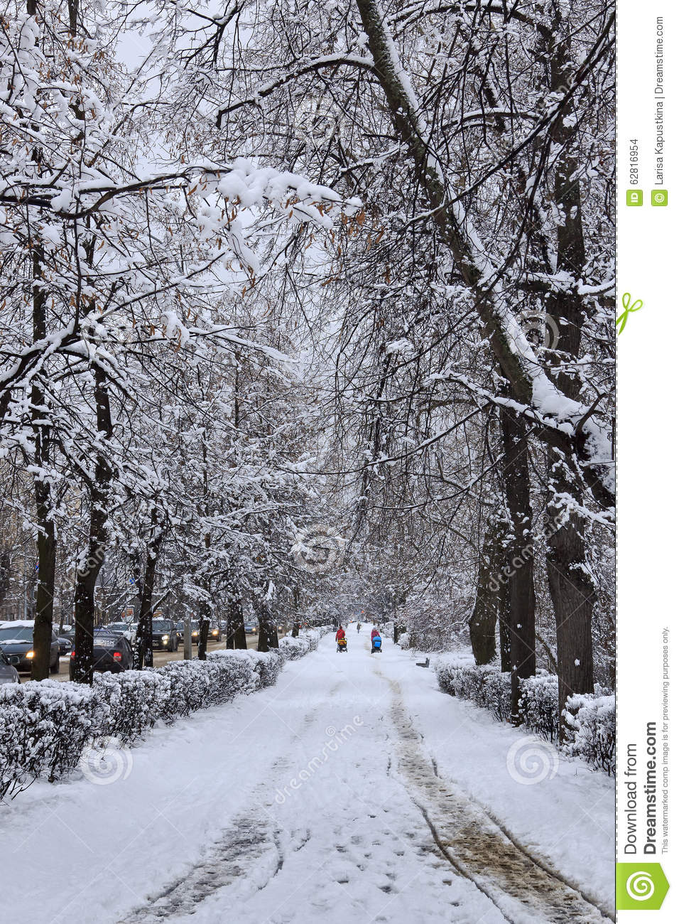 snowy city street vertical editorial stock image image