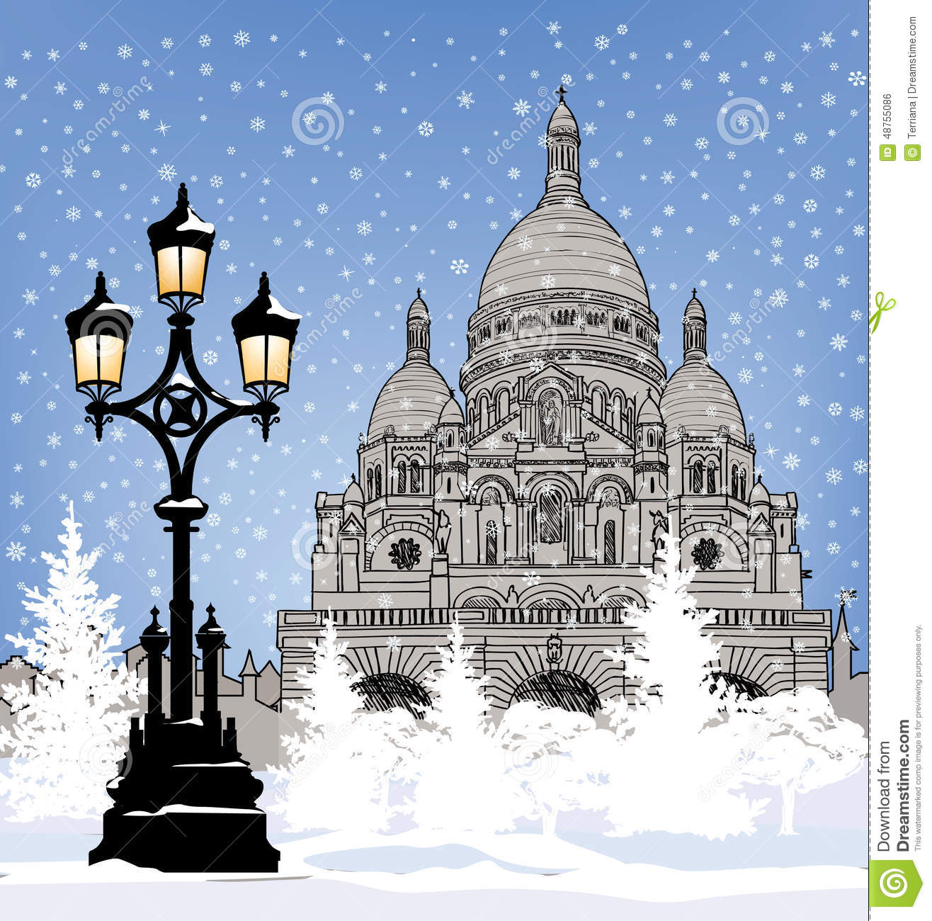Snowy City Wallpaper. Winter Holiday Snow Background