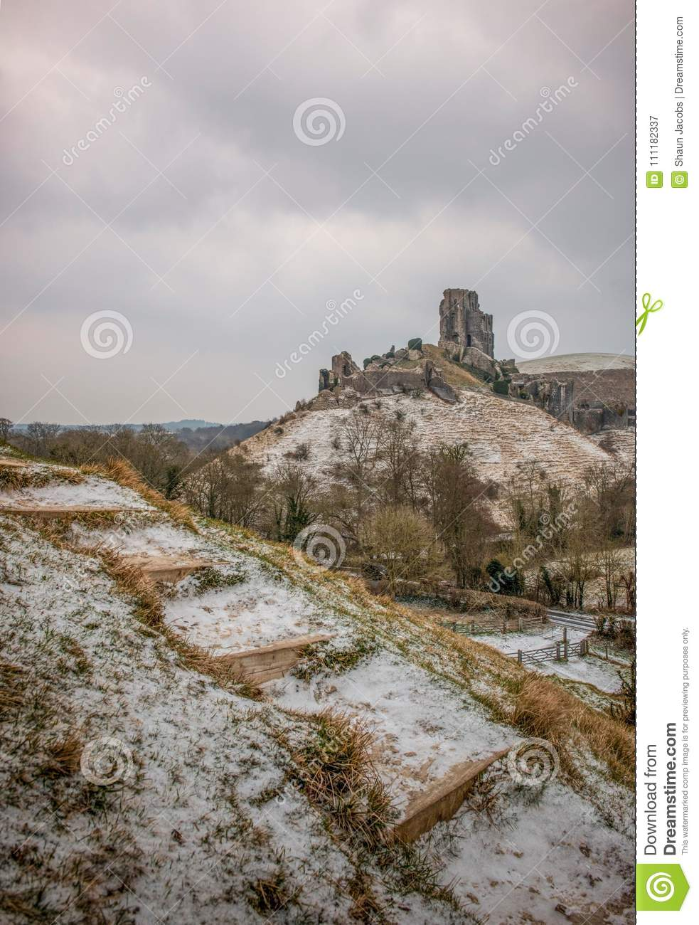 Corfe Castle in Dorset UK winter Landscape