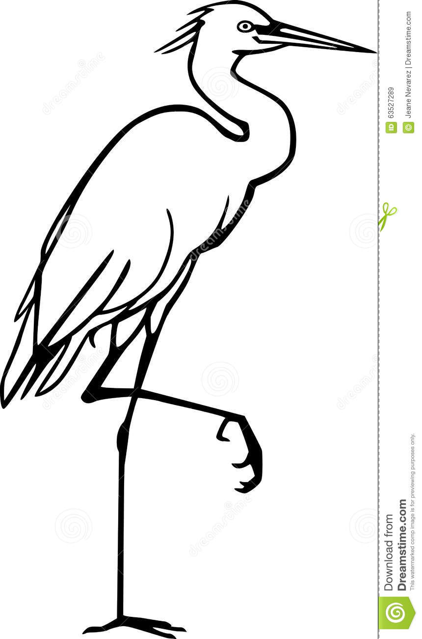 Line Art Design Illustration : Snowy egret stock vector image