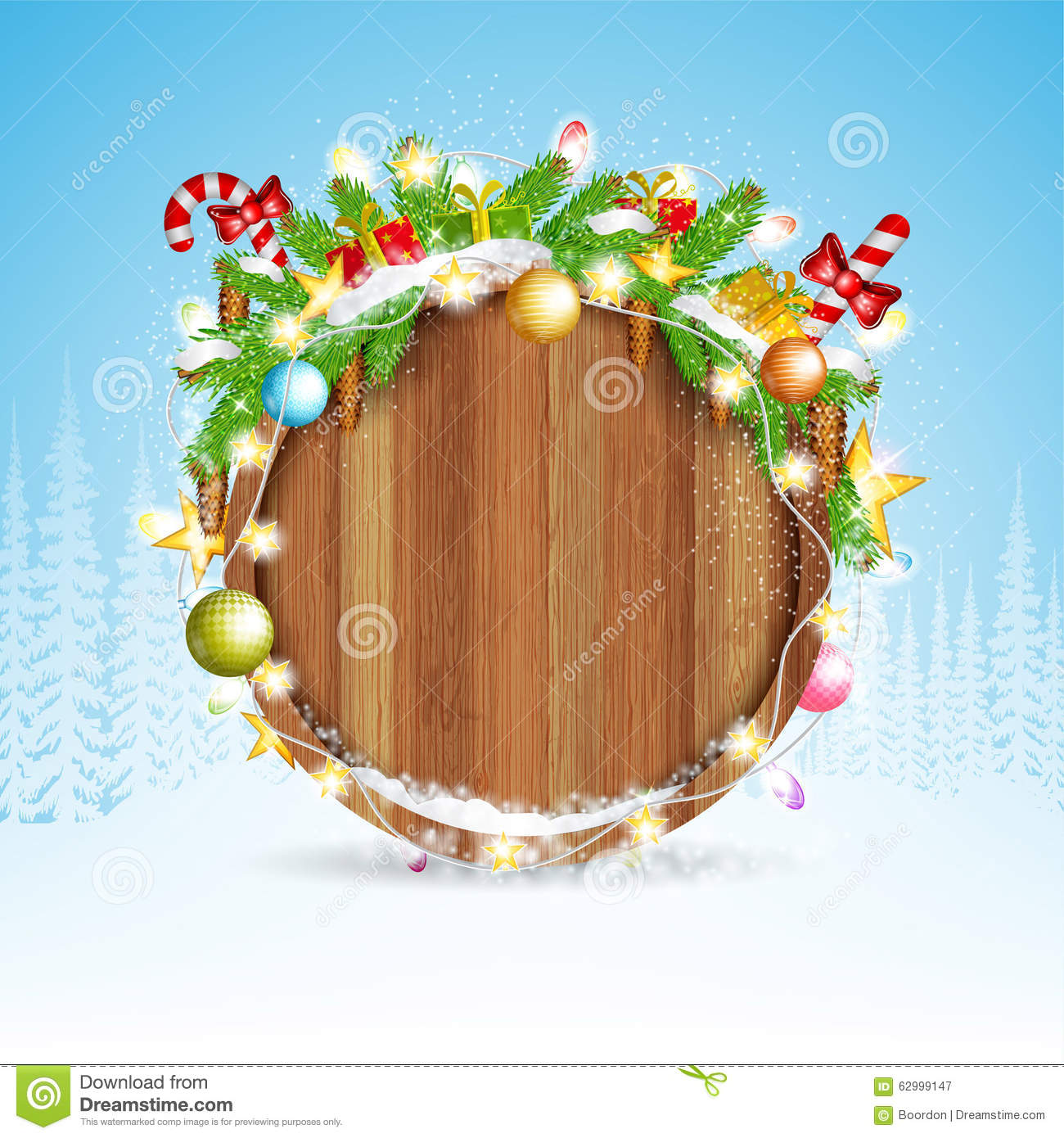 Snowy fir tree branch cones and presents on round wood border. winter christmas background