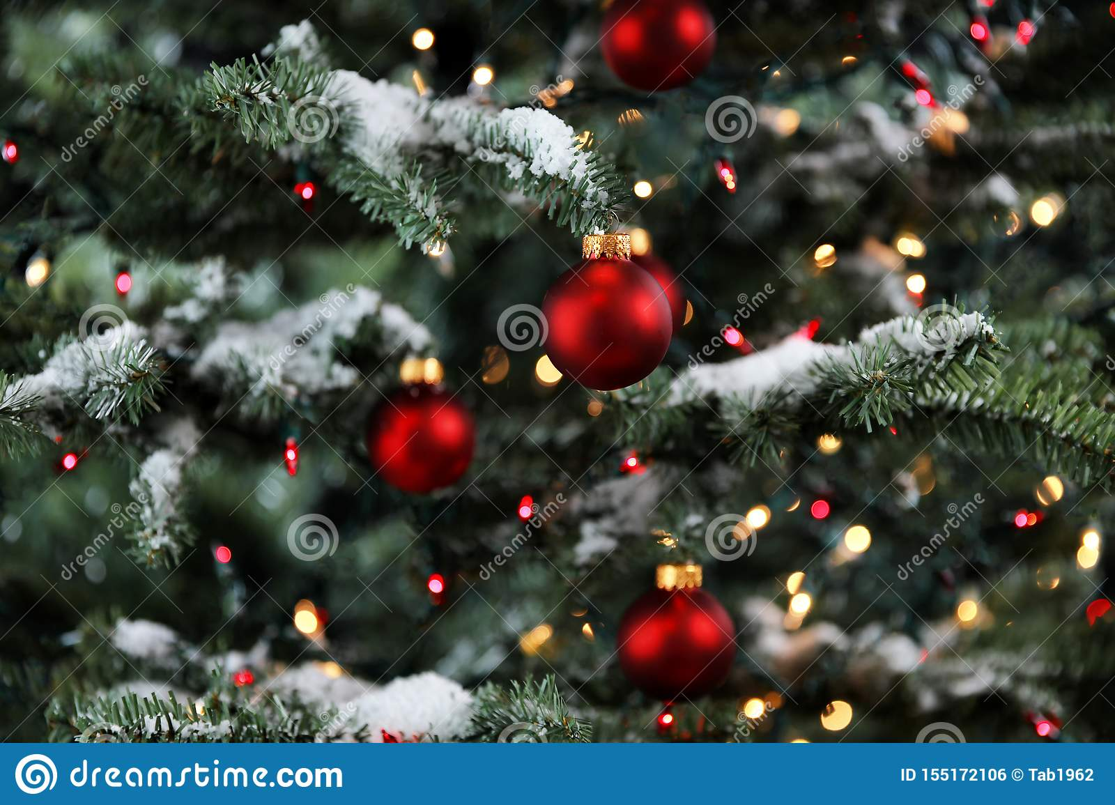 Snowy Glowing Christmas Tree Decorated With Red And Gold Ornament Balls Stock Photo Image Of Ornament Decorate 155172106