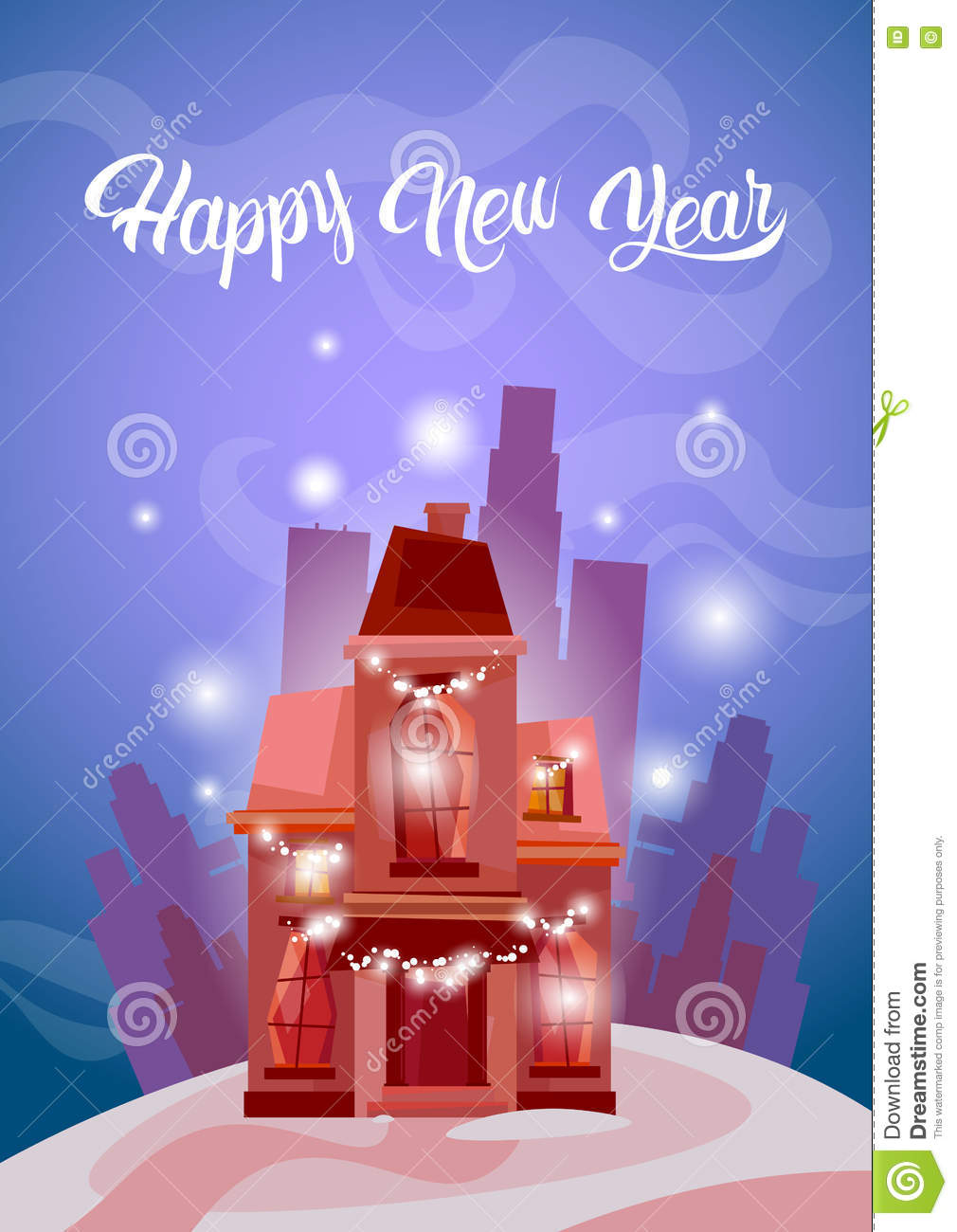 snowy house happy new year merry christmas greeting card banner