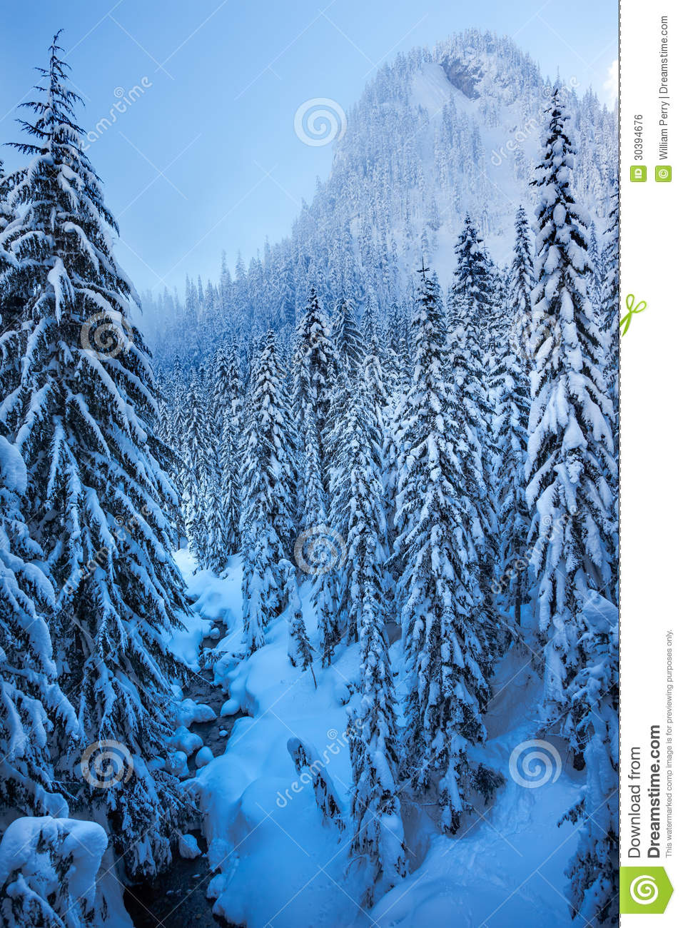 Snowy ice blue stream snow mountain cascade mountains snoqualme pass