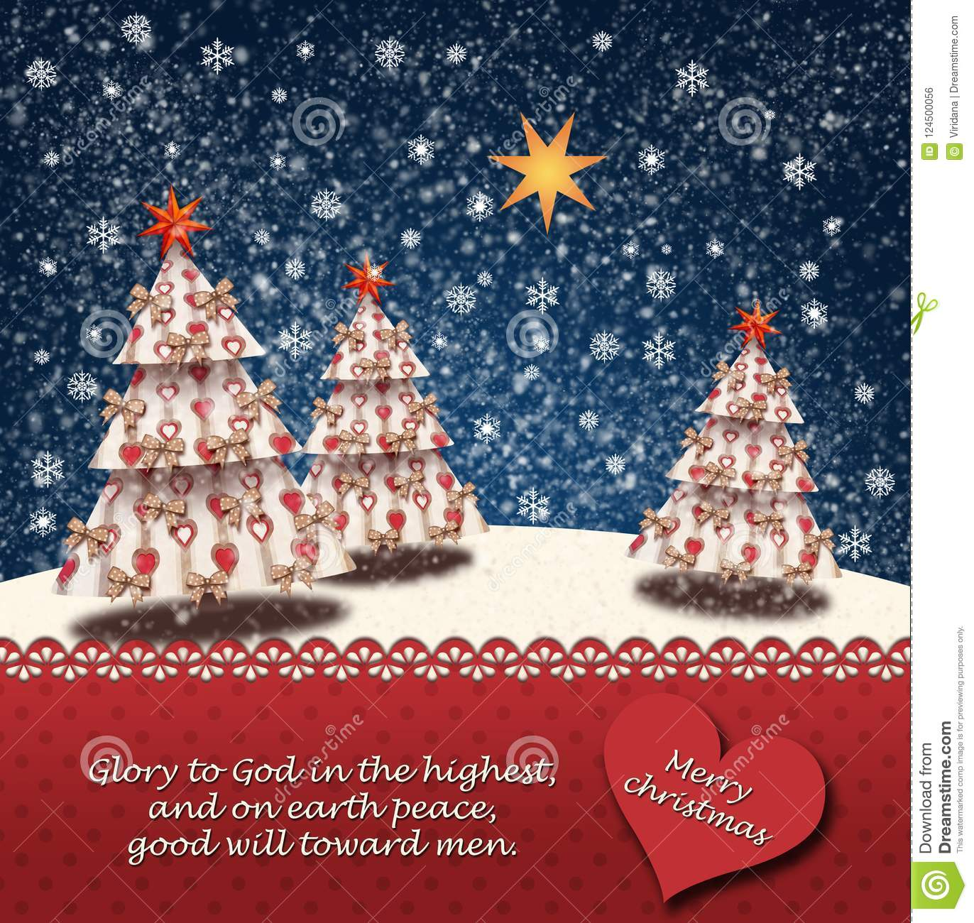 download snowy landscape with christmas trees and the star of betlehem and a bible quotes from