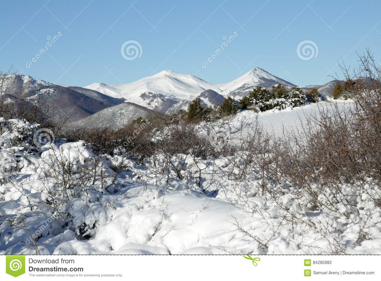 Snowy mountain in Donezan, Pyrenees