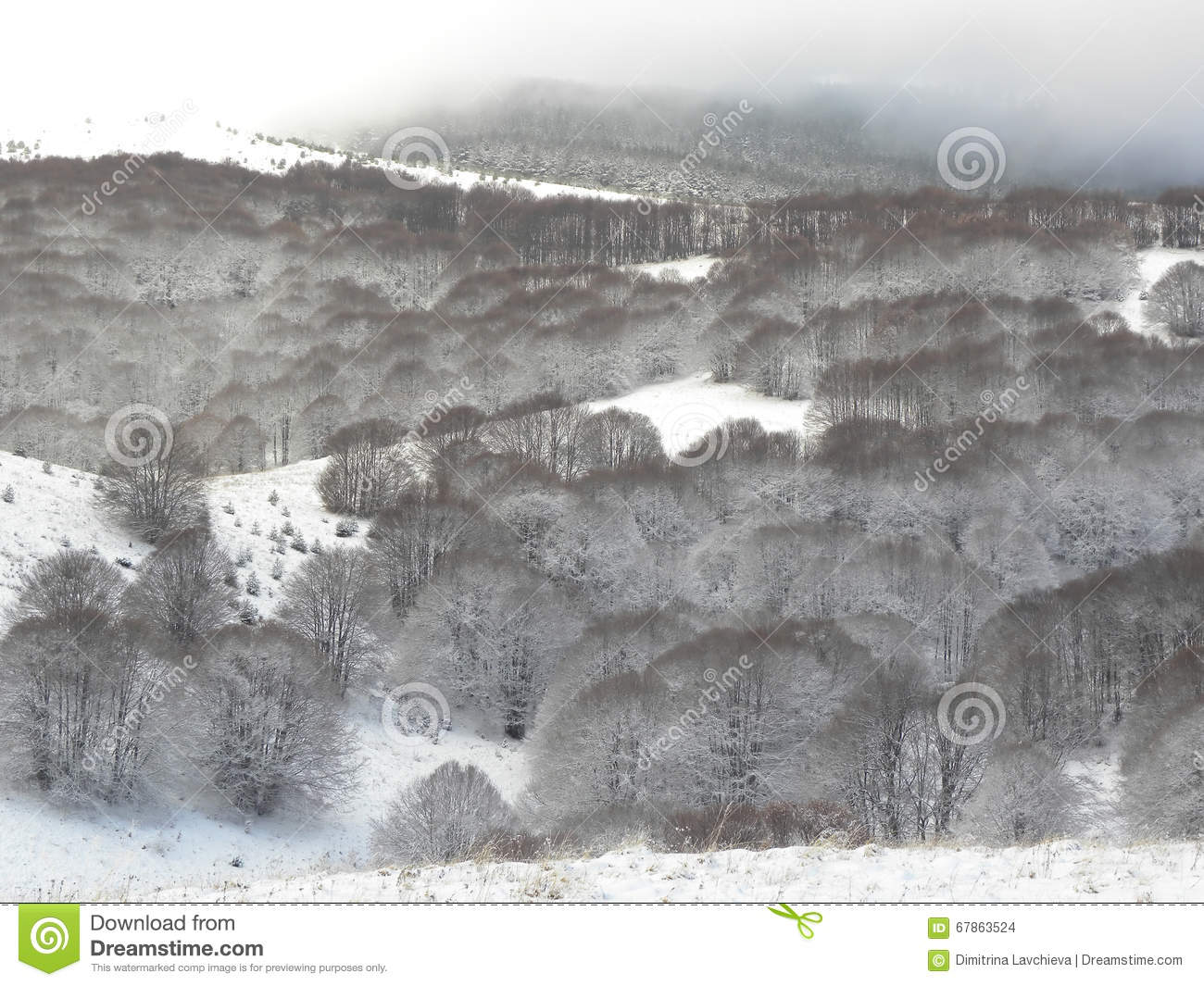 Snowy mountain hill
