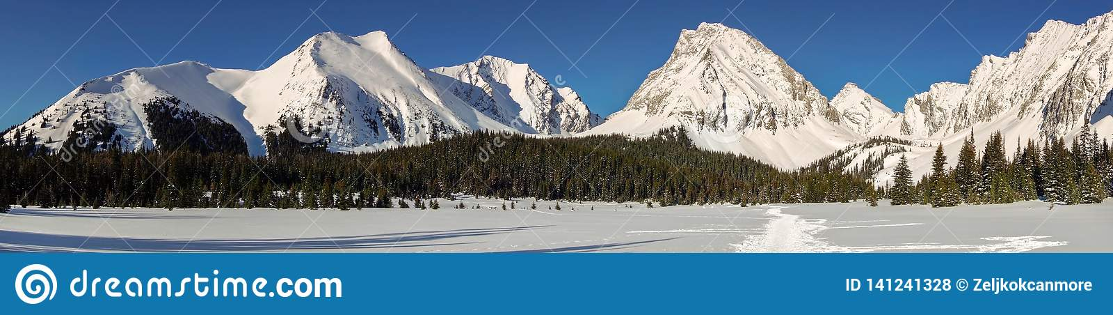 Snowy Mountain Peaks Panoramic Landscape Cold Winter Kananaskis Alberta Canada
