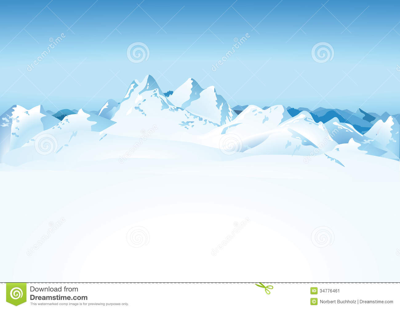 Scenic view of snowy white mountain range with blue sky background.