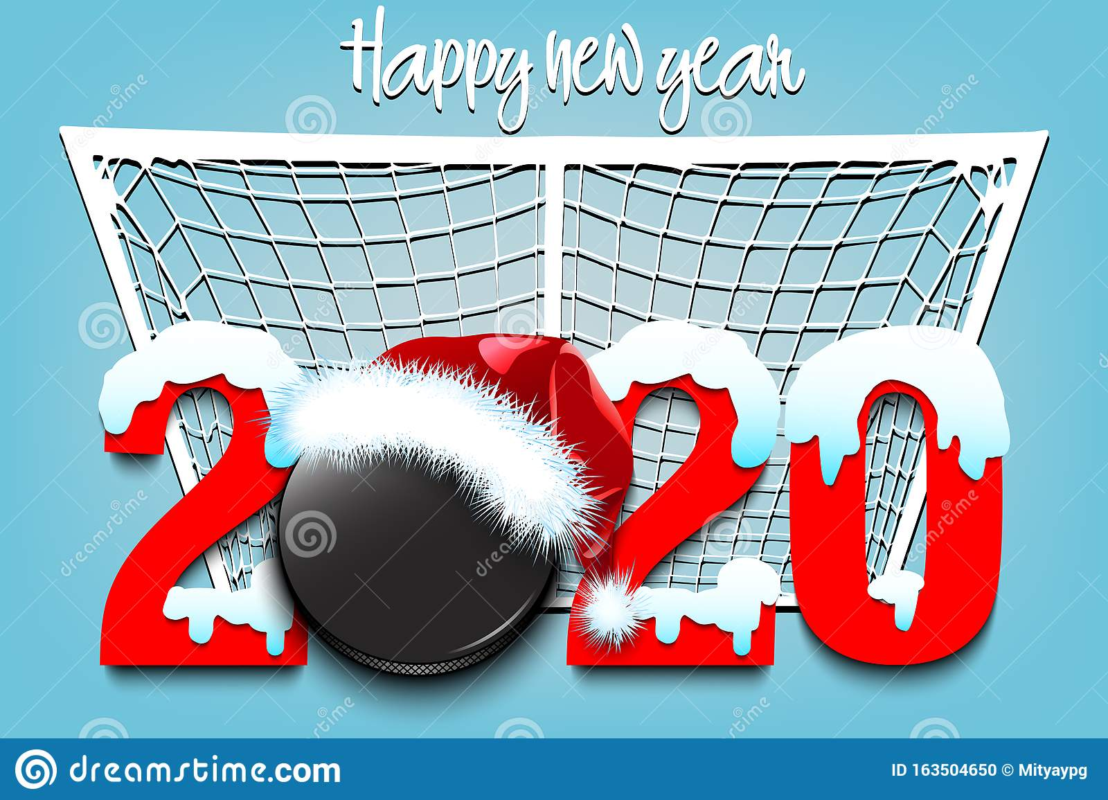 2020 Christmas Hockey Snowy New Year Numbers 2020 And Hockey Puck Stock Vector
