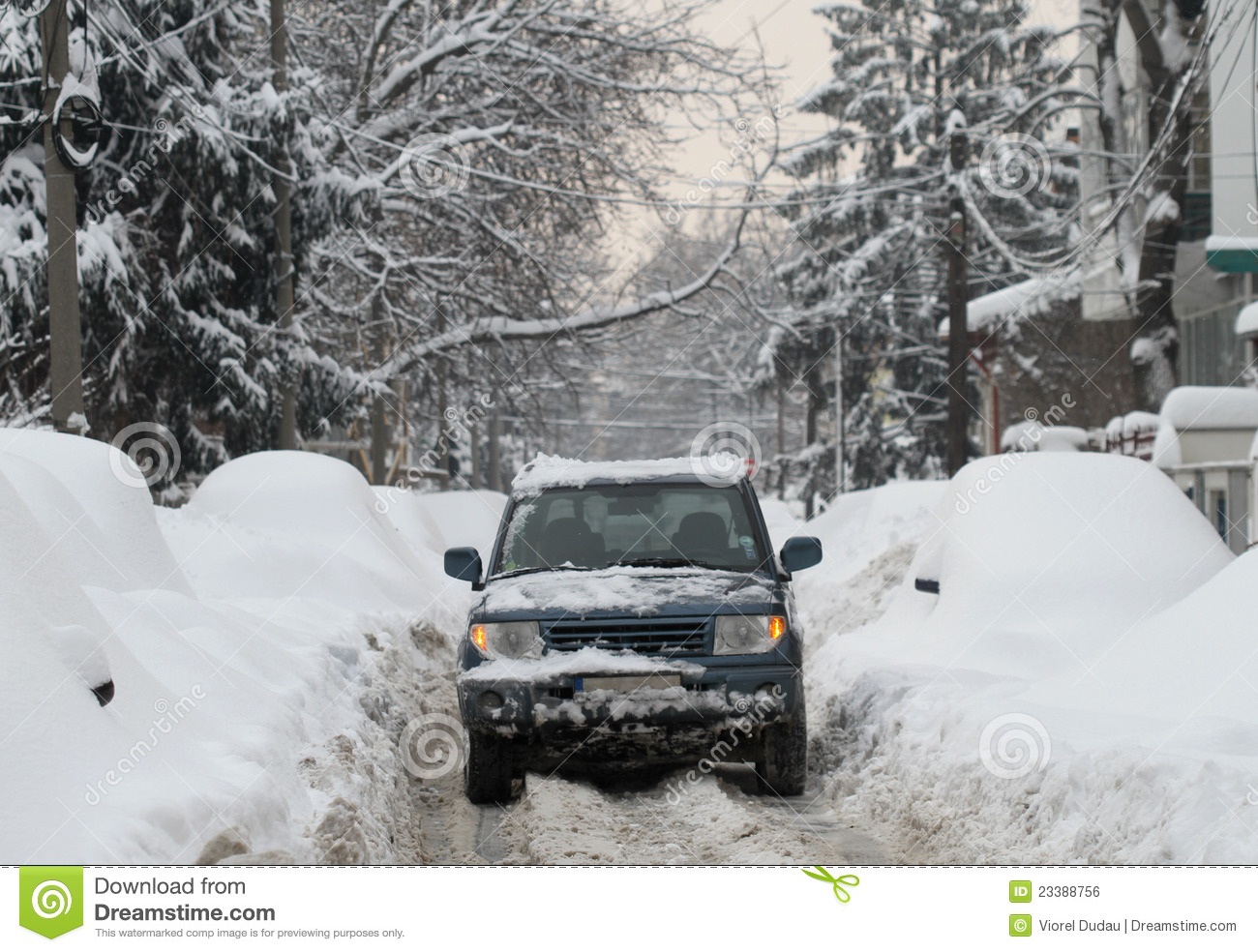 Snowy off road vehicle