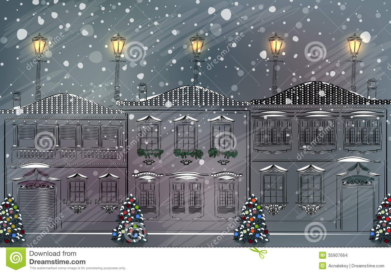Snowy Old Town At Christmas Stock Images Image 35907664
